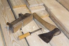 Carpenter Tools Axe Plane And Chisel Royalty Free Stock Image