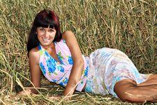 Beautiful Girl Laying In Hay Stock Photos