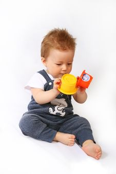 Little Boy Plays Stock Photo