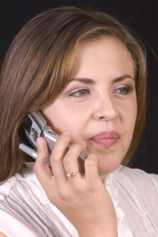 Pretty Hispanic Girl On Cell Phone Royalty Free Stock Photography