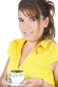 Free The Portrait Of Girl With A Mug Of Coffee Stock Image - 6311221