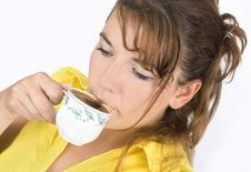 Free The Portrait Of Girl With A Mug Of Coffee Royalty Free Stock Photography - 6311607