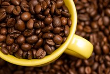 Free Coffee Beans In A Yellow Cup Royalty Free Stock Image - 6311816