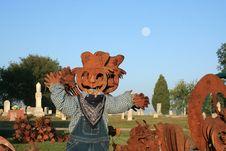 Metal Pumpkin Scarecrow Stock Image