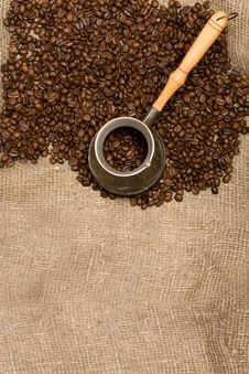 Free Cezve With Freshly Roasted Coffee Beans Stock Photo - 6312400