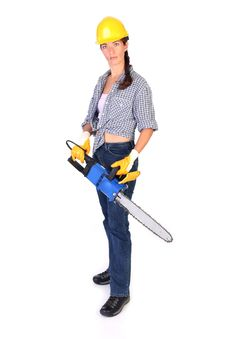 Free Beauty Woman With Chainsaw Stock Photos - 6312433
