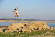 Free A Woman Jumps For Joy Royalty Free Stock Photo - 6312435