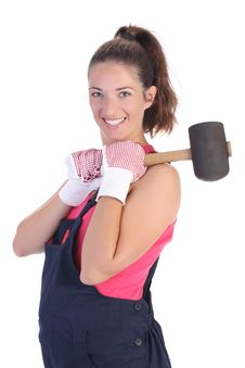 Free Woman With Black Rubber Mallet Royalty Free Stock Image - 6312576