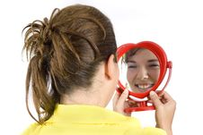 Free Girl And Mirror Stock Image - 6312791