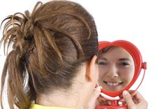 Free Girl And Mirror Stock Photography - 6312822
