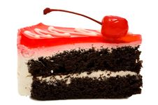 Chocolate Pie With A Cherry Royalty Free Stock Images