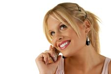 Free Attractive Female Holding Mobile Phone Stock Images - 6317724