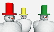 Abstract 3D Snowmen Royalty Free Stock Photos