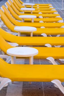 Yellow Loungers Stock Images