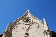 Free White Chapel Wall Against Blue Sky Stock Image - 6318701
