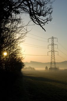 Free Sunrise Over Pylon Field Royalty Free Stock Photography - 6319397