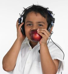 Free Boy Biting An Red Apple Stock Photos - 6319983