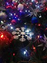 Free Decorations And Lights On A Christmas Tree In Bryant Park. Stock Photos - 63191623
