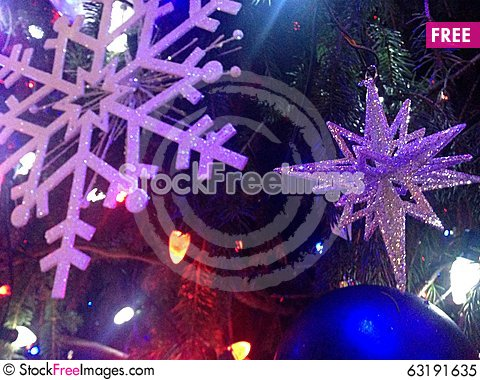 Free Decorations And Lights On A Christmas Tree In Bryant Park. Royalty Free Stock Photo - 63191635