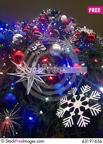 Free Decorations And Lights On A Christmas Tree In Bryant Park. Royalty Free Stock Image - 63191656