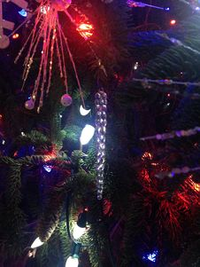 Free Decorations And Lights On A Christmas Tree In Bryant Park. Stock Photography - 63191642