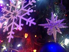 Decorations And Lights On A Christmas Tree In Bryant Park. Royalty Free Stock Photo