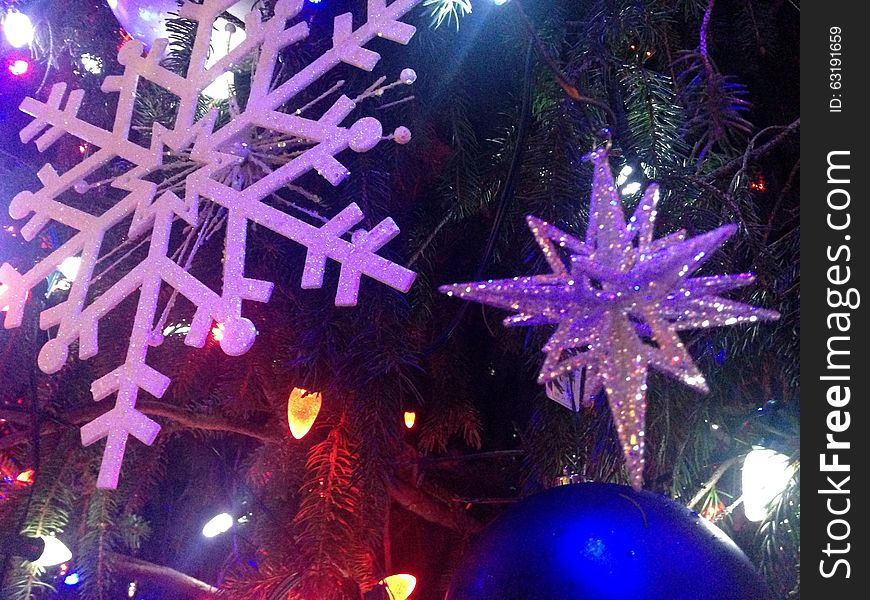 Decorations and Lights on a Christmas Tree in Bryant Park.