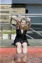 Free Blonde Woman Splashing Water Royalty Free Stock Photography - 6328307