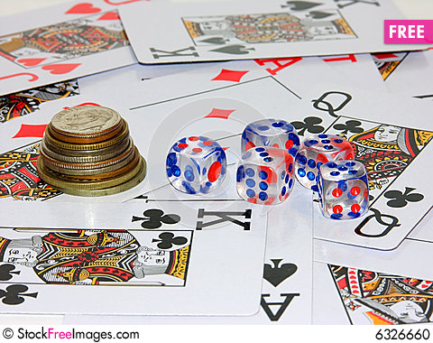 Free Coins, Playing Bones And Playing Cards Stock Photo - 6326660