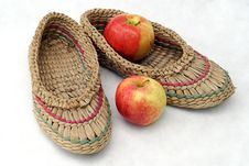 Free Bast Shoes And Two Apples Royalty Free Stock Photos - 6320678