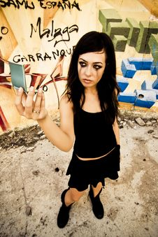 Free Goth Girl Looking Mirror Stock Photography - 6320682