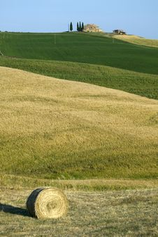 TUSCANY Countryside With Farms And Hay-ball Stock Images