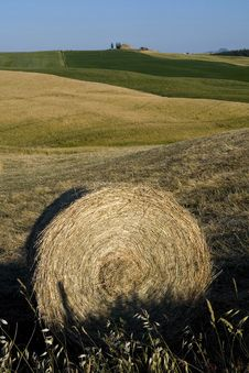 TUSCANY Countryside With Farms And Hay-ball Royalty Free Stock Image