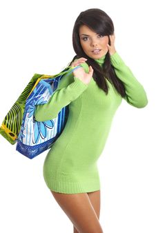 Free Beautiful Woman With Shopping Bag Royalty Free Stock Photography - 6322017