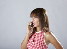 Free Sexy Hispanic Lady Talking On Cellular Phone Royalty Free Stock Photos - 6322278