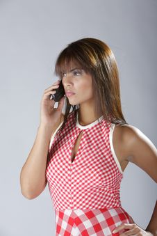 Free Sexy Hispanic Lady Talking On Cellular Phone Royalty Free Stock Photo - 6322285