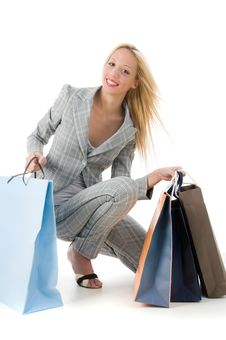 Lovely Young Woman With Shopping Bags Stock Photos