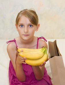 Free Young Girl With Banana Royalty Free Stock Images - 6323949