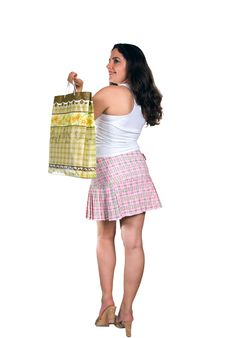 Free Pretty Girl With Shopping Bag Royalty Free Stock Photography - 6324237