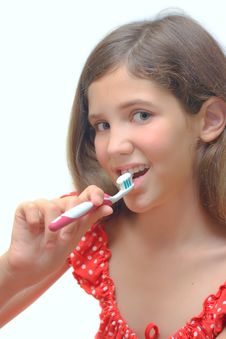 Free Beauty Teen Girl Clean Teeth Stock Photography - 6324602