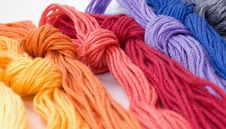 Close-up Of Colorful Buns Of Threads Royalty Free Stock Photo