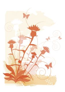 Free Orange, Grunge Flowers Stock Photos - 6325933