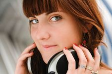 Pretty Girl With Big Headphones Stock Photography
