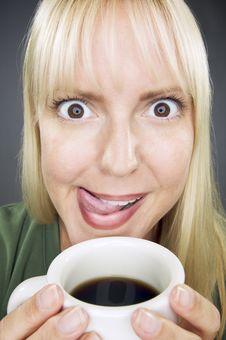Free Beautiful Woman Enjoys Coffee Stock Photography - 6326482