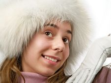Free Beauty Girl Teenager In White Fur Cap. Stock Images - 6326994
