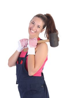 Free Woman With Black Rubber Mallet Stock Photography - 6327532