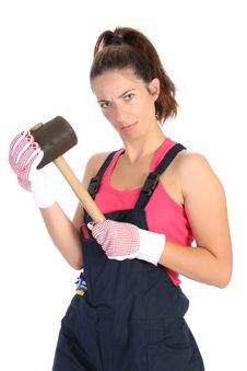 Free Woman With Black Rubber Mallet Royalty Free Stock Images - 6327619