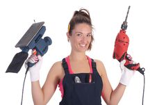 Free Beauty Woman With Auger And Sander Stock Image - 6327641