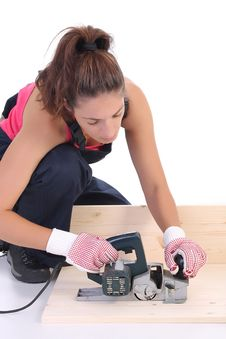 Free Woman Carpenter At Work Stock Images - 6327694