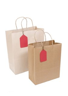 Free Two Shopping Bags With Red Tag Stock Photos - 6328693